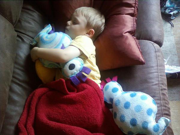 Boy sleeping with monsters.